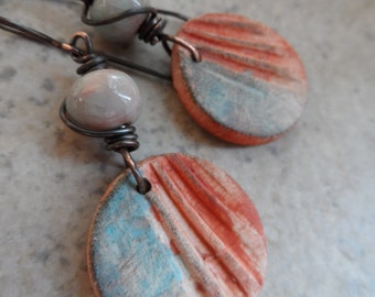 Sunset ... Polymer Clay, Ceramic and Copper Wire-Wrapped Boho, Primitive Earrings