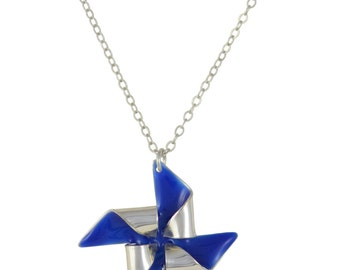 Pick Your Pinwheel Necklace // Silver or Gold Plated Origami Windmill Pendant Hung on Silver or Gold Plated Chain Necklace