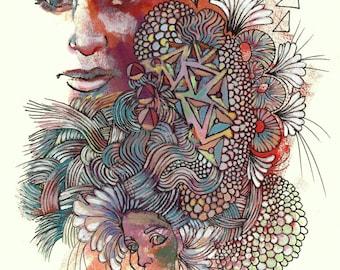 Kim & Kirsten - Archival Art Print - Geometric Pattern Portraits