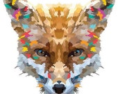 Fox. Cross Stitch pattern, Digital Download PDF. Geometric Print of a fox face with beautiful colorful patches in his fur. Bright and Modern