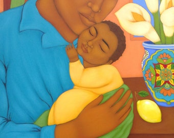 Father and Child Mexican Folk Art Portrait Print of Painting by Tamara Adams