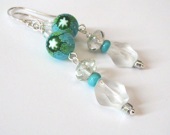 Millefiori Lampwork Bead Earrings, Art Glass Earrings, Aqua Blue Green and White, Dangle, Sterling Silver,