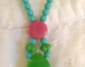 COOL Necklace --  VINTAGE  Necklace -- Agate Necklace -- Pendant Necklace -- Beaded Necklace -- Kids Necklace -- OOAK Necklace