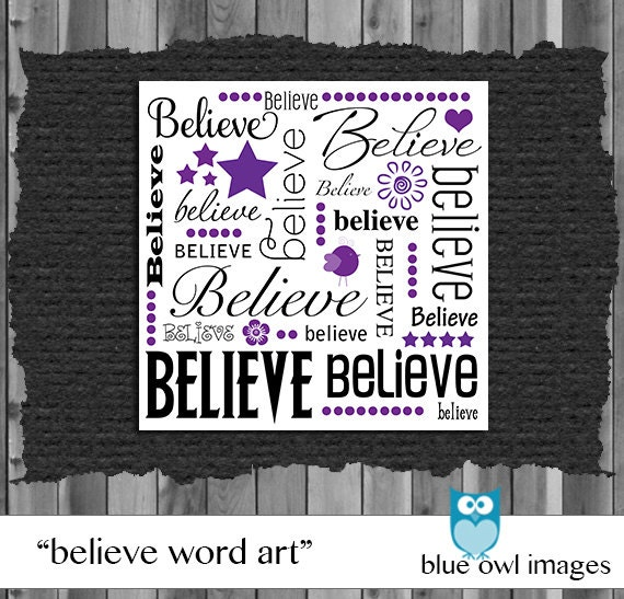 Items similar to Believe Word Art Square Illustration on Etsy