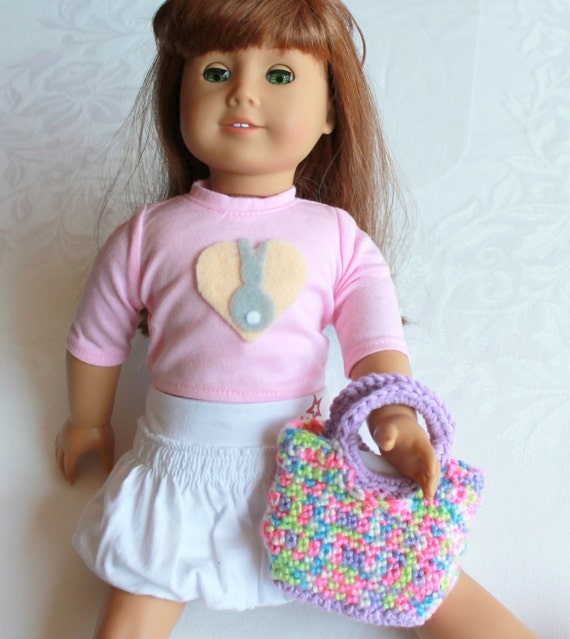 Crochet Bag for American Girl Doll, Lavender Summer tote for doll