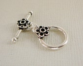 Sterling Silver Clasp, Toggle, Oxidized Flower Accent Jewelry Closure