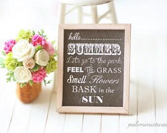 Dollhouse Miniature Shabby Framed Art - Summer Time Poster