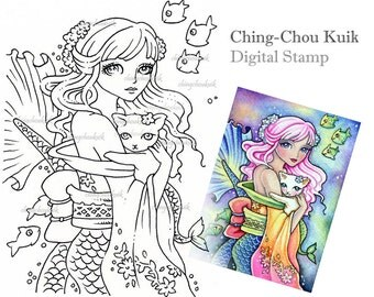 Exotic Ocean Fantasy - Digital Stamp Instant Download / Fantasy Art by Ching-Chou Kuik