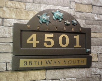 SEA TURTLE FAMILY Address Plaque Coastal House Numbers