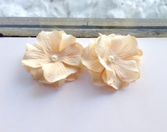 Blush Hair Flower Set, Bridal, Pearls, Ivory, Wedding, Small, Set of 2, Clip