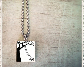 Scrabble Jewelry Necklace - Tree Swing - Scrabble Tile Charm - Customize - Choose Your Style