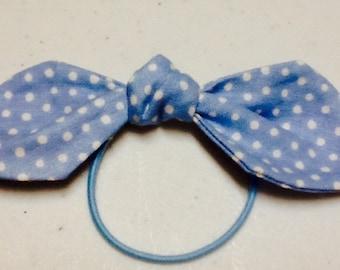 Fabric Hair Bow, Ponytail Bow on Elastic Blue,  Hair Accessories