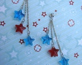 READY TO SHIP - Sale - 4th of July Holiday Independence Day Star Earrings - Silver Chain, Red and Blue Stars - Bella Mia Beads
