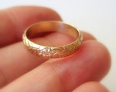 Gold wedding band, recycled 14k floral and leaves patterned ring, 4mm wide, stacker, women's anniversary commitment ring - made to order