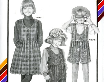 Stretch & Sew 936 Girls Rompers Jumpers Chest Sizes 21 - 31 Uncut Vintage Sewing Pattern 1992