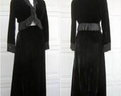 Vintage 60s Posh Black Velvet Fringed Bolero & Maxi Skirt Bohemian Evening Wear - Vtg Size 12
