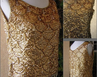 """Vintage 60s Gold Sequin Glass Bead Encrusted Top - GoGo Girl or Mad Men Cocktail Party - Bust 42"""""""