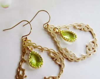 Gold Filigree Earrings, Large Gold Teardrop, Peridot Earrings, Green Glass, Wedding Jewelry, Bridesmaid, Wedding, Gardendiva