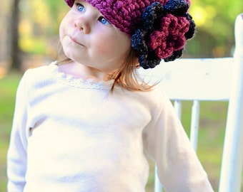 Toddler Girl Hat 1T to 2T Purple Plum Toddler Hat Purple Toddler Hat Charcoal Gray Flower Hat Toddler Girl Clothes Crochet Winter Hat Warm