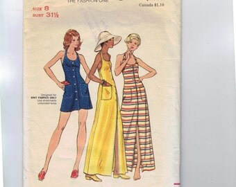 1970s Vintage Sewing Pattern Butterick 3153 Misses Button Front Stretch Knit Halter Dress Size 8 Bust 31 1/2 1970s 70s  99