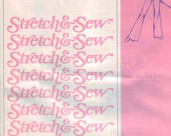 1970s Vintage Sewing Pattern Stretch and Sew 710 Jeans Hip 30 32 34 36 38 40 42 44 46 UNCUT 70s