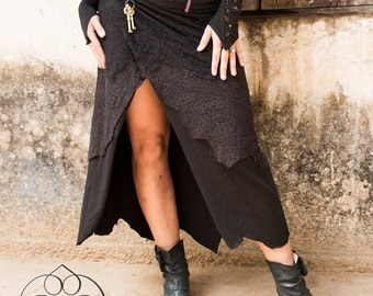 LONG PIXE SKIRT - Steampunk Burning man Hippie Boho Tribal Steam punk Fairy Belly Dance  Burlesque Faery Gypsy Witch Goa - black