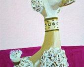 Porcelain poodle.  Original mixed media painting by Vivienne Strauss