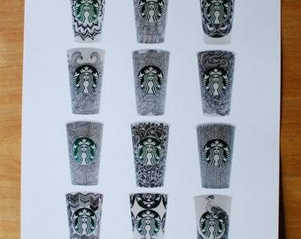 Doodled Starbucks Cups Print #2