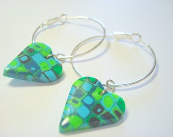 Turquoise Green Klimt Inspired Hearts Handmade Polymer Clay Hoop Earrings