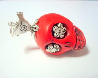 Gigantic Red  Sugar Skull Silver Daisies and Bird Pendant or Ornament
