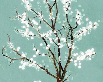 Robins Egg Blue Green Tree Art Print -  - Dancer in the Dark (robins egg)