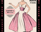 Vintage Sewing Pattern 1950's Cocktail Dress in Any Size - PLUS Size Included - Depew 7316 -INSTANT DOWNLOAD-