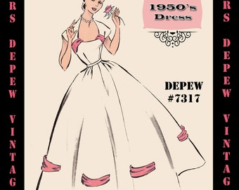 Vintage Sewing Pattern 1950's Evening Gown in Any Size - PLUS Size Included - Depew 7317 -INSTANT DOWNLOAD-