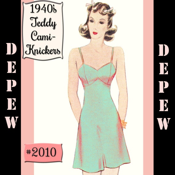 Vintage Sewing  Lingerie Pattern 1940's Style Teddy Cami-Knickers Printable #2010 -INSTANT DOWNLOAD-