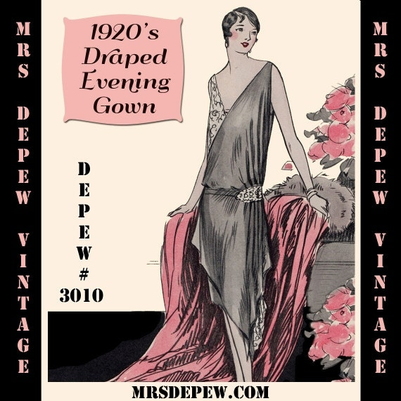 1920s Patterns – Vintage, Reproduction Sewing Patterns 1920s Flapper Easy Draped Evening Gown Ebook PDF Depew 3010 -INSTANT DOWNLOAD- $7.50 AT vintagedancer.com