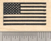 United States of America Flag Rubber Stamp D24306 Wood Mounted