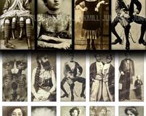 "HUMAN ODDITIES - Digital Printable Collage Sheet - 1"" x 2"" Domino Tiles - Vintage Circus Freakshow Sideshow Performers, Digital Download"