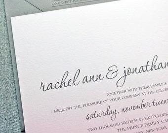 Rachel Pink Ombre Wedding Invitation Sample