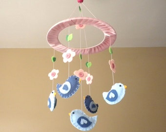 Baby Crib Mobile - Birds and Flowers