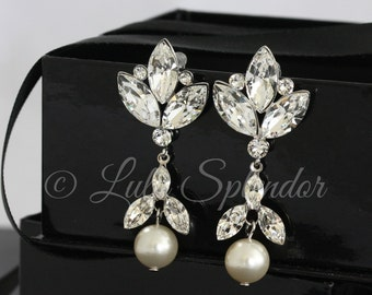 Statement Bridal Earrings Large Crystal Wedding Earrings Dramatic Earrings Crystal and Pearl Drop Earrings BREA