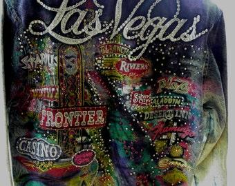 Tony Alamo Designe SIGNED! 1988 LAS VEGAS Hand Painted Denim Jacket Rhinestone Swarovski Crystal Studded