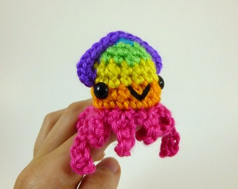 Bright Rainbow Baby Squid Amigurumi Crochet Plushie - Pink Base - MADE TO ORDER