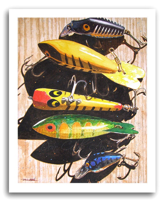 Fishing Lures Art Print Cinco Senuelos Prints