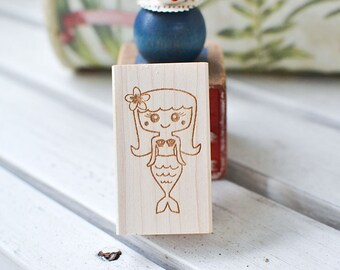 Mermaid Rubber Stamp - Kawaii Stamp