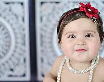 Baby Headbands, Newborn Headbands, Valentines Headbands, Red , Flower Headbands, Skinny Headbands, Vintage Headbands, Baby Girl Headbands