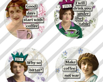 """Digital Collage Sheet, Circles, Bottle Caps, 1"""", 1.25"""" and 1.5"""" Sized Coffee Caffeine Ladies, 3 Sizes (Sheet no. FS211) Instant Download"""