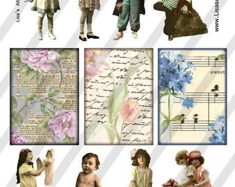 Digital Collage Sheet Children Vintage Images  (Sheet no. O65) Ephemera-Instant Download