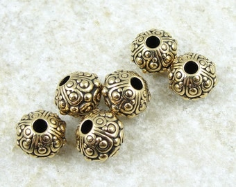 TierraCast OASIS Large Hole Beads for Leather - Antique Gold Beads Gold Bali Beads 10mm Beads with 2.5mm Holes (PS197)
