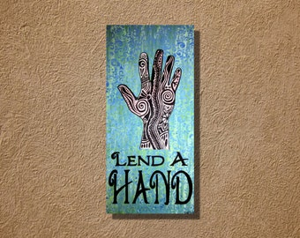 Lend a Hand Acrylic Painting Tribal  Turquoise Mehndi Hand Original 12 x 24