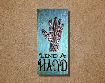 Lend a Hand Acrylic Painting Tribal  Turquoise Mehndi Hand Original 12 x 24